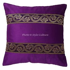 Traditional Velvet Sofa Couch Pillows Purple 16x16 Brocade Floral Cushion Cover