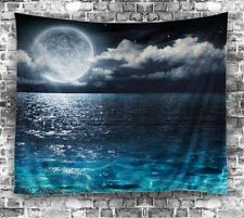 "Moon Water Reflection TAPESTRY 60x80"" Night Ocean Hanging Fabric Wall Decor Art"