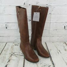 Dr Scholls Brillance Womens Size 8 M Wide Calf Tall Riding Boots Whiskey Brown