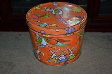 "HTF Easter Rabbits & Carrots The Popcorn Factory Tin 8""H x 10.25""Dia w/ Lid"