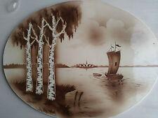 Keramik Kachel; Kachelplatte;Tablett;Hollandmuster;ovale Platte