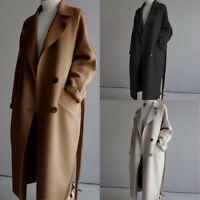 Outwear Trench Parka Oversize Belt Wool Coat Cashmere Blend Lapel Jacket Womens