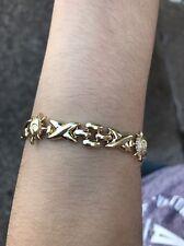 "Gorgeous 14k gold bracelet hugs kisses XO Suns 14.5gm 7 1/4"" $1400"