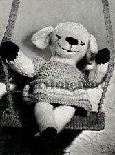 Knitting Pattern Vintage 1940s WW2 Toy Lamb/Sheep & Swing. Use Oddments.