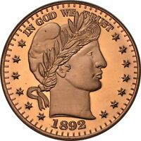 1 oz Copper Round - Barber Half