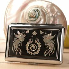 Mother of Pearl Phoenix Yin Yang Metal Cigarette Holder Credit Card Case Wallet