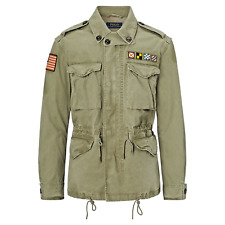 NEW Polo Ralph Lauren Men's Canvas Flag Army Military Jacket, OLIVE