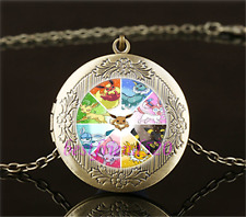 Pokemon Eevee Evolution Cabochon Glass Brass Locket Pendant Necklace
