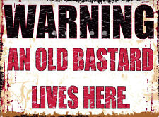 WARNING AN OLD B**** LIVES METAL SIGN RETRO VINTAGE STYLE SMALL shop cafe coffee