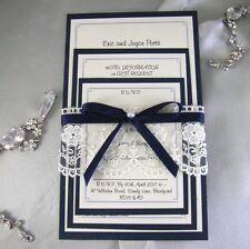 navy/midnight blue lace handmade wedding invitation set. rsvp (celia)