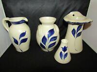 Lot of 4 Williamsburg Pottery Cobalt Blue Salt Glaze Vases