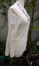 Cheesecloth cotton Shirt Cream Blue 1960s Vintage
