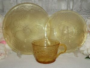 Vintage Amber Glass Trio Tea Cup Saucer And Side Plate