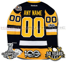 5372e569d PITTSBURGH PENGUINS ANY NAME   NUMBER 2017 STANLEY CUP CHAMPIONS JERSEY  REEBOK