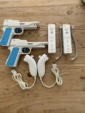 Nintendo Wii Controller Lot (2) Controllers, (2) Nunchuk, (2) Perfect Shot USED