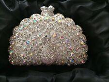 Silver Clear Peacock AB Rhinestone Crystal Clutch Bridal Prom Formal Purse NEW!