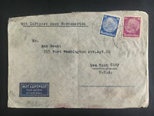 1941 Wurzburg Germany to USA Censored Cover Israel Sally Hecht Adolf Stern