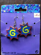 "Vintage Sevi Handpainted Letter ""G"" Hook Pierced Earrings from 1993"