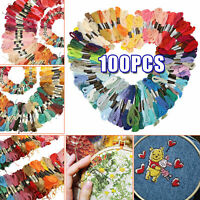 100PCS Cross Stitch Cotton Embroidery Thread Floss Sewing Skein Kit Multi Colors