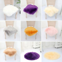 Furry Area Rug Chair Cover Hairy Wool Seat Pad Faux Sheepskin Carpet Floor Decor