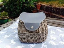 GORGEOUS GREY ANTIQUE WASH WILLOW TWO PERSON CREEL PICNIC HAMPER