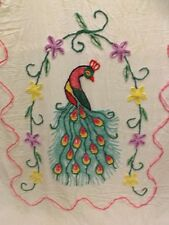 Vtg Bold Colorful Peacock Chenille Cutter Bedspread 83x103 Fabric Craft Sewing