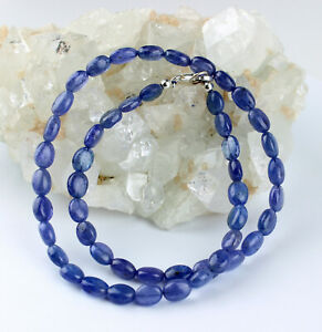 Tanzanite Necklace Precious Stone Natural Smooth Polished Blue 18 1/8in
