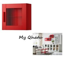 IKEA Wall Cabinet with Glass Door Storage Shelf RED Brimnes