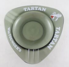 William Younger's Tartan Beer Large Ashtray - Vintage Smoke Colored Glass