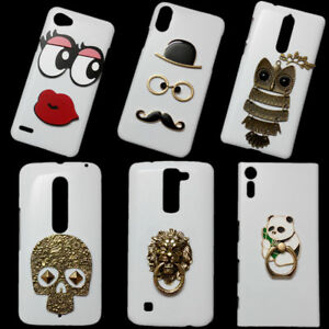 Bronze Lion Head Panda Holder Owl Mustache Skull Rivet Back Hard Case for Phones