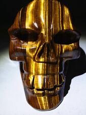 939g Natural Tiger's eye Carved Crystal Skull, Crystal Healing W1813