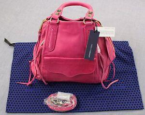 REBECCA MINKOFF ROMEO Women PINK LEATHER SATCHEL SHOULDER BAG + DUSTBAG NWT $495