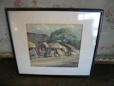 Likely Vintage Signed Watercolor Painting of People in Village
