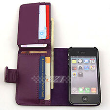 Purple Long Wallet Credit Flip Leather Case Cover For Apple iPhone 4GS 4G 4 4S