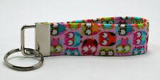 Mini Owls on Pink Animal Print Key Chain Ring Fob Handmade Custom Designer