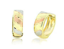 Yellow Gold Huggie Hoop Earrings 5mm Wide 100% 10K Gold w/ Tri Color Accent 13mm