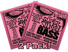 2 Pack Ernie Ball 2834Super Slinky BASS 45-100 Bass StringsFree US Shipping!
