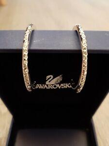Swarovski crystal jewellery rhodium plated Hoop earrings BOXED