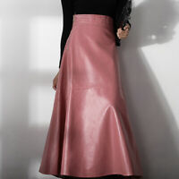 Chic Pink Womens Fall Winter High Waist Full Length PU Leather Skirts Maxi Dress