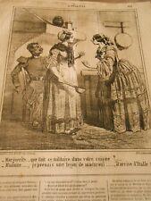 Caricature 1859 Un militaire de votre cuisine Une leçon de Macaroni vient Italie