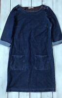 White Stuff Dark Blue Denim Look 3/4 Sleeve Mini Dress With Pockets 10 - B31