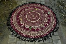 Indian Round Gold Ombre Mandala Tapestry Cotton Wall Hanging Large Beach Throw