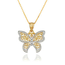 Yellow Gold Filigree Butterfly Charm Necklace