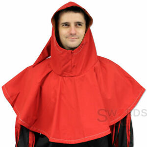 Kings Fool Harlequin Court Jester Hood Renaissance Middle Ages Cap Red Costume
