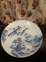 Vintage Japanese Mountain Scene 31cm Signed Charger