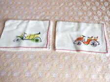 More details for 2 vintage hand-embroidered napkins/vintage car motifs