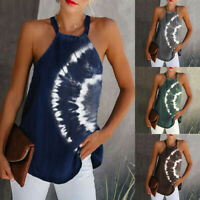 Womens Halter Neck Tank Tops Shirt Ladies Summer Casual Blouse Vest Cami Ceng