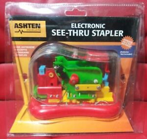 Vintage 1980s See-Thru Electric Stapler New In Package NOS Colorful & Practical