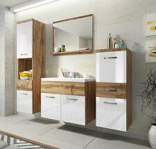 Badmöbel-Set Spring 5tlg Hochglanz Spiegel Badezimmer-Set mit Waschbecken  M24