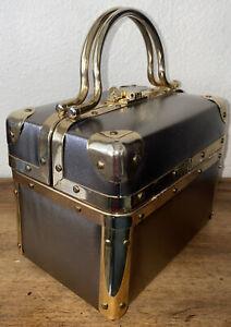 "Vintage Lisette Train Case, ""Lunch Box"", Purse, Handbag Metallic Silver"